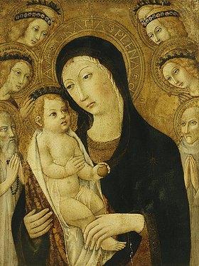 Sano di Pietro: Madonna mit Kind und den Heiligen Antonius der Große und Bernhardin von Siena, umgeben von Engeln