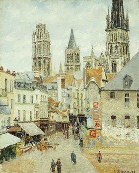 Camille Pissarro: Rue de L'Epicerie in Rouen an einem bedeckten Morgen