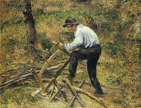 Camille Pissarro: Der Vater beim Holzsägen, Pontoise