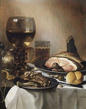 Pieter Claesz.: Stillleben mit einem Römer, Schinken, Fleisch und einer goldenen Taschenuhr. 1651 oder