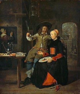 Gabriel Metsu: Selbstbildnis des Künstlers mit seiner Frau Isabella de Wolff im Wirtshaus