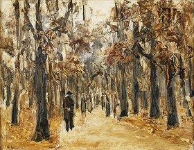 Max Liebermann: Tiergarten im Herbst mit Spaziergangern