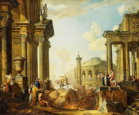 Giovanni Paolo Pannini: Marcus Curtius springt in den Abgrund, Capriccio mit der Trajanssäule und anderen antiken Gebäuden