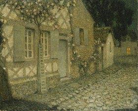 Henri Le Sidaner: Das Haus des Gärtners im Mondlicht, Gerberoy