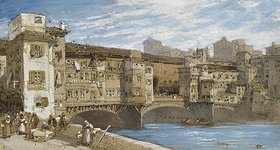 William Callow: Der Ponte Vecchio in Florenz
