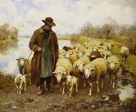 Julius Hugo Bergmann: Ein Schäfer mit seiner Herde am See