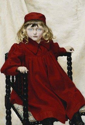 Paul Fischer: Portrait von Harriet Fischer in einem roten Kleid
