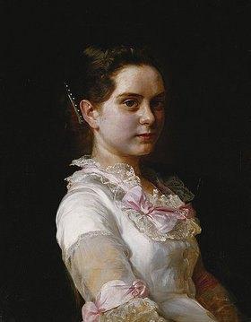 Joseph Kostka: Porträt von Margarete Rieckehoer in weißem Kleid mit rosa Schleifen