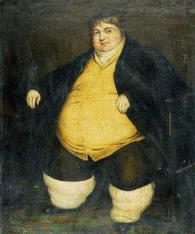 Englisch: Portrait of Daniel Lambert (1770-1809). Er wurde als dickster Mann seiner Zeit bekannt und tourte durch das Land. Es wird gesagt, dass er zu seinem Tode fast 336 kg wog