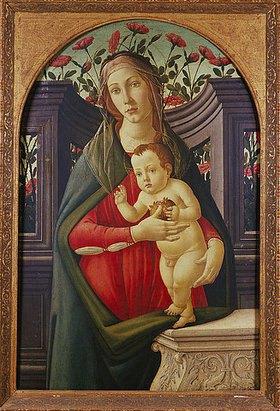 Sandro Botticelli: Madonna mit Kind in einer mit Rosen dekorierten Nische