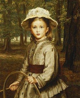 Frederick Bacon Barwell: Ein Mädchen spielt mit einem Reif