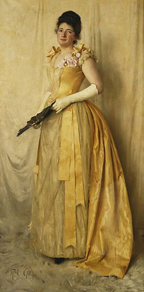 Thomas Cooper Gotch: Dame in Gold - Porträt von Mrs. John Crooke