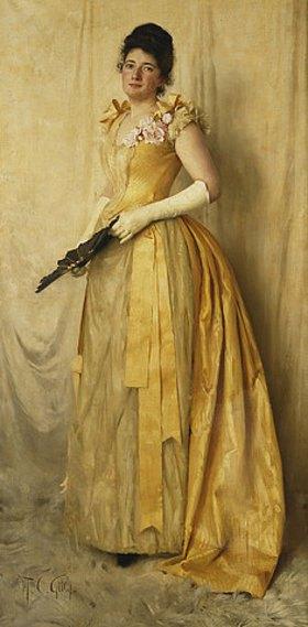 Thomas Cooper Gotch: Dame in Gold - Porträt von Mrs. John Crooke