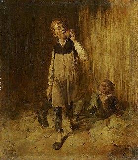 Wilhelm Busch: Zwei Schusterjungen nach der Balgerei um einen Apfel