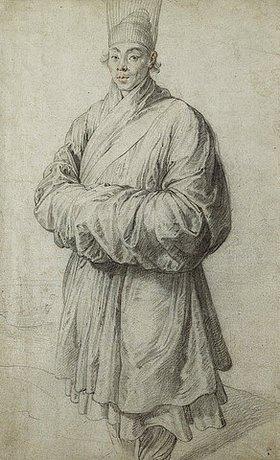 Peter Paul Rubens: Mann in Koreanischem Kostüm mit transpartenter Kopfbedeckung aus Pferdehaar, im Hintergrund ein Schiff