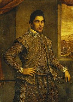 Domenico Tintoretto: Bildnis eines Gentleman in besticktem Kostüm vor Landschaft