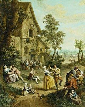 Louis Joseph Watteau: Bauern tanzen vor einer Taverne
