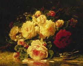 Jean Baptiste Robie: Rosen mit Blaumeise an einem Bach