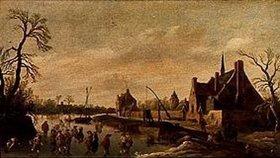 Jan van Goyen: Flußlandschaft mit Schlittschuhläufern bei einem Dorf