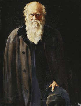 John Collier: Bildnis von Charles Darwin (die kleine Version des Porträts in de National Portrait Gallery London, von 1883)