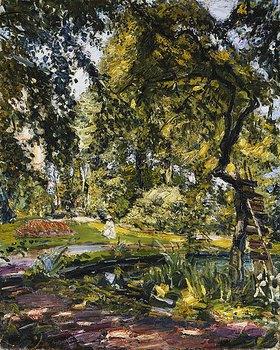 Max Slevogt: Garten in Godrammstein mit Verwachsenem Baum und Weiher