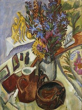 Ernst Ludwig Kirchner: Stillleben mit Krug und afrikanischer Schale