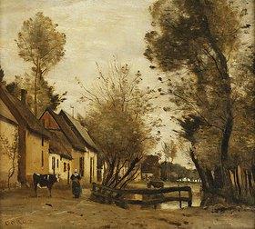 Jean-Baptiste Camille Corot: Flesselles, Straße mit Bauer und Kuh (Flesselles, une Rue avec une Paysanne et sa Vache)