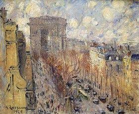 Gustave Loiseau: L'Avenue de Friedland, Paris, an einem bewölkten Tag