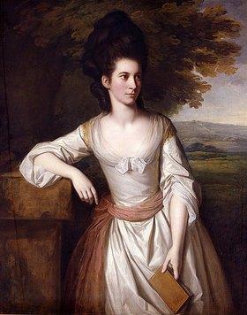 Nathaniel Dance: Mrs. Vere in einem weißen Kleid mit pinker Schleife, ein Buch in ihrer Linken haltend, eine Landschaft im Hintergrund