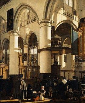 Emanuel de Witte: Gottesdienst in der Alten Kirche (Oude Kerk) in Delft