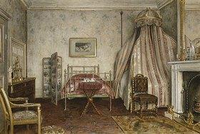 George Goodwin Kilburne: Ansicht des Schlafzimmers, in dem Napoleon III starb, Camden Place, Chislehurst, Kent
