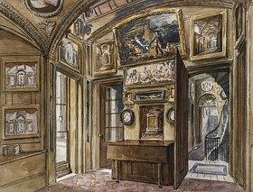 Charles James Richardson: Das Frühstückszimmer mit Blick in die Diele und das Treppenhaus, Sir John Soane's Museum, 13 Lincoln's Inns Fields