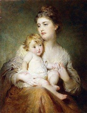 George Elgar Hicks: Bildnis der Herzogin von St. Albans mit ihrem Sohn. 1875 (Die Porträtierten sind Grace, zweite Ehefrau von William Amelius Aubrey de Vere und ihr erster Sohn Lord Osborne de Vere, geboren im Oktober 1874.)