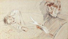 Paul César François Helleu: Madame Helleu lesend, mit Paulette, die neben ihr liegt