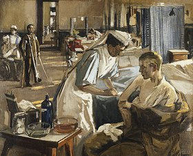 Sir John Lavery: Der erste Verwundete, London Hospital. August