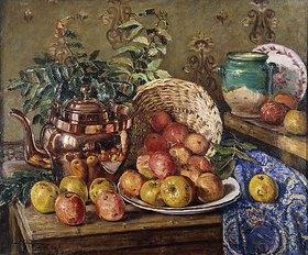 Eugène Claude: Stillleben mit Äpfeln und Kupferkessel