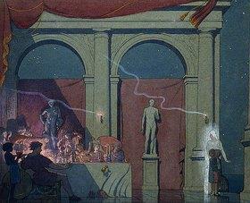 Frederick Cayley Robinson: Tyltyl bringt den Diamanten ins Schloss. 1911 (Illustration für 'Der blaue Vogel' von Maurice Maeterlinck, Akt IV Aufzug IV)