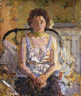 Harold Gilman: Frau auf einem Bett sitzend
