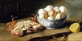 Mary A. Powis: Stillleben mit Krebs und einer Schale Eiern
