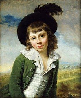 Nathaniel Hone: Bildnis eines Knaben in einer grünen Jacke und einem Federhut