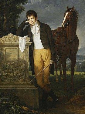 Francois Xavier Fabre: Don Luigi Grimaldi, Prinz von Santa Cruce, Marquis de Pietro Vajrana de Monaco et Genes, am Grab seiner Verlobten Fanny, Marquise de Grimaldi. 1804 (Zum Zeitpunkt des Portraits war der Portraitierte 23 Jahre alt.)