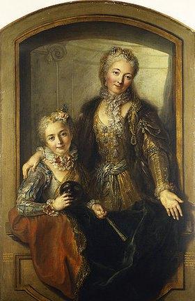 Charles Antoine Coypel: Madame Dupille mit ihrer Tochter in Abendroben