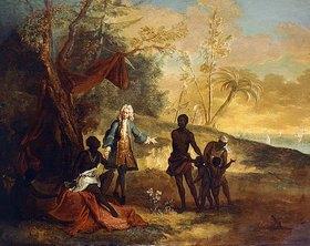Jean-Baptiste Oudry: Die vier Kontinente - Afrika: Ein Kaufmann handelt mit einem Stammeshäuptling. 1724