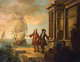 Jean-Baptiste Oudry: Die vier Kontinente - Europa: Kaufleute mit Hafenarbeitern, die Fässer transportieren