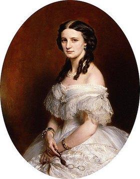 Franz Xaver Winterhalter: Portrait einer Dame in einem weißen Ballkleid