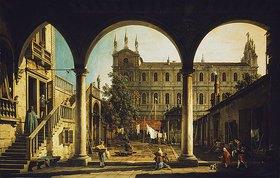 Canaletto (Giovanni Antonio Canal): Venezianisches Capriccio: die Scuola di San Marco vom Palazzo Grifalconi Loredan aus