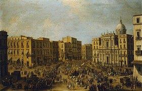 Antonio Joli: Platz mit San Ferdinando in Neapel, Ankunft einer königlichen Kutsche