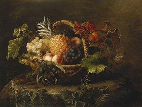 Johan Laurentz Jensen: Eine Ananas, Trauben, Pfirsiche und Aprikosen in einem Korbb