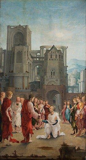 Süddeutsch: Die Schlüsselübergabe Christi an Petrus. Erste Hälfte des 16. Jahrhunderts
