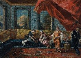 Francesco Guardi: Zwei Odalisken spielen Mancala im Harem